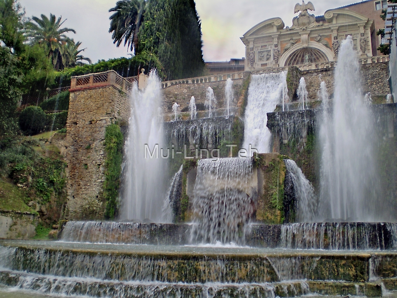 Raining up and down in Villa d'Este by Mui-Ling Teh