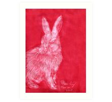 White Rabbit (Monochromatic Hue Series) Art Print