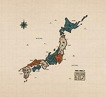 Japan - Vintage Effect Map (Without Border) by OneLeggedKiwi