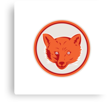 Red Fox Head Front Circle Retro Canvas Print