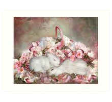 Easter Surprise - Bunnies And Roses Art Print