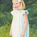 blonde girl white sundress watercolor by Mike Theuer
