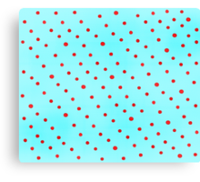 Sky Blue and Red Polka Dots Canvas Print