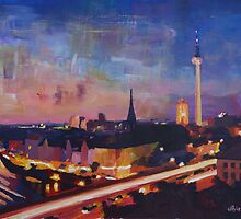 Illuminated Berlin Skyline at Dusk by artshop77