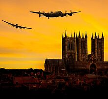 Two Lancasters over Lincoln cathedral by AviationPrints