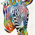 Colorful Zebra Face By Sharon Cummings by Sharon Cummings