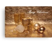 Merry Christmas in Gold Canvas Print