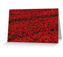 Poppy fields of remembrance for WW1 at Tower of London Greeting Card
