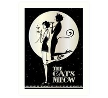 Gatsby Girl Flapper The Cat's Meow (black and silver) Art Print