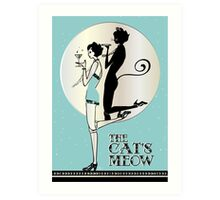 Gatsby Girl Flapper The Cat's Meow (blue and silver) Art Print