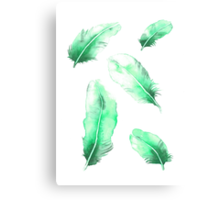 Emerald Feathers Watercolor Canvas Print