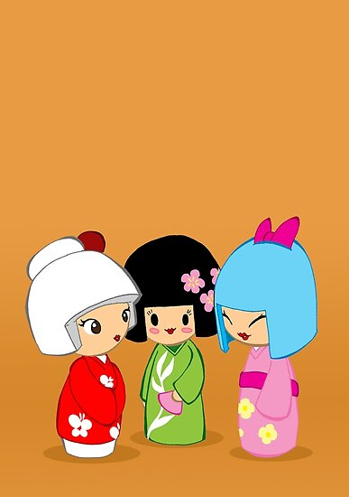 Kokeshi Dolls by LillyKitten