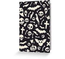 Halloween Symbols Pattern Contrast Greeting Card
