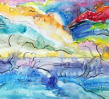Watercolor fantasy abstract by vinainna