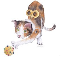Playful Toy Cat by Jreast Art