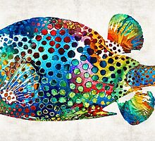 Puffer Fish Art - Puff Love - By Sharon Cummings by Sharon Cummings