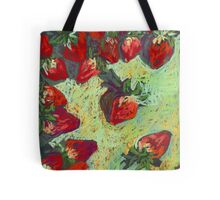 Strawberries on a table Tote Bag