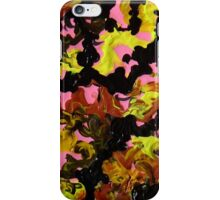 Hectic modern abstract painting Brown Black Pink Yellow iPhone Case/Skin