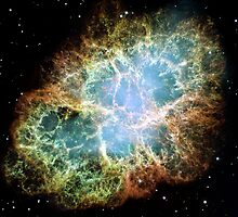 Hubble Picture of the Crab Nebula by Old-Time-Images