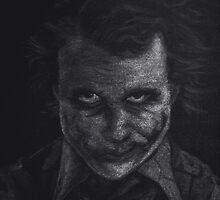 Black and White version of Heath Ledger as The Joker  by Will Dudley