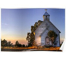 Country Church at Sunrise Poster