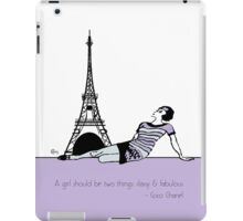 """1920s Coco Chanel  with Quote """" A Girl should be two things Classy and Fabulous"""" iPad Case/Skin"""