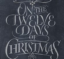 Chalkboard Lettering '12 Days of Christmas' Chalk Card by 26-Characters