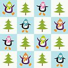 Festive Penguins and Christmas Trees Pattern by Lisa Marie Robinson