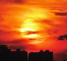 Autumn Sunset in New York City  by Alberto  DeJesus