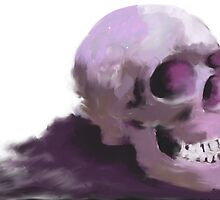 impressionistic skull in purple by Stacy Parker