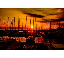 Sunset over harbour in Piran, Slovenia Photographic Print