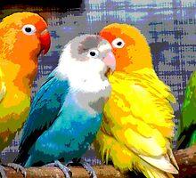 Parakeets & Tropical Summer Beach Rainbow Birds by goodedesign