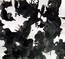 Not a Cow abstract painting black and white by 7RayedDesigns