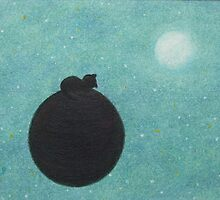 Sleeping Cat on Planet / Earth with Moon and Stars by Claudine Peronne