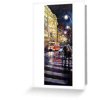 Prague Masarykovo Nabrezi Evening Walk Greeting Card