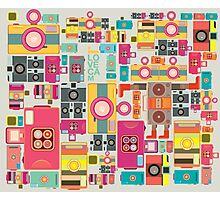 VIntage camera pattern wallpaper design Photographic Print