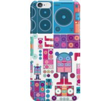 robot boom box tape music vector pattern iPhone Case/Skin