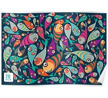 Beautiful collection of tropical fish pattern  Poster