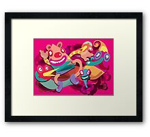Cute clown colorful monster Framed Print