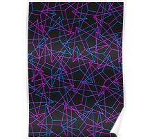 Abstract Geometric 3D Triangle Pattern in Blue / Pink Poster
