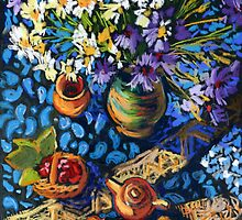 Still life with flowers, pots on a blue tablecloth by kira-culufin