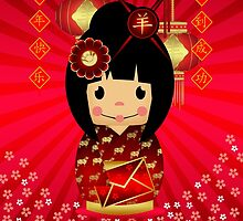 Chinese New Year, Year Of The Ram Kokeshi Doll by Moonlake