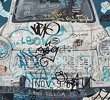 Blue Trabant car in Berlin  by RedSteve