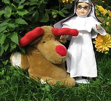 Little Theresa the Child Nun and Pooch (the doorstop) in Our Garden in Romania by Dennis Melling