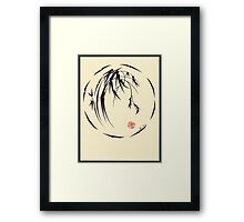 """Beauty"" sumi-e ink brush pen painting Framed Print"