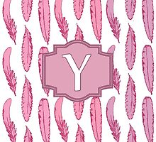 Pink Feathers Monogrammed Letter Y by Greenbaby