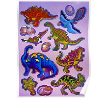 Several colorful dinosaurs Poster