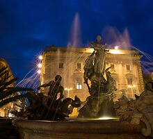 Syracuse, Sicily Blue Hour - Fountain of Diana on Piazza Archimede by Georgia Mizuleva