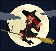 Cute Witch for Halloween by cartoon