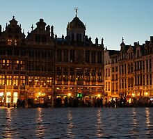 Brussels - Grand Place Facades Golden Glow by Georgia Mizuleva
